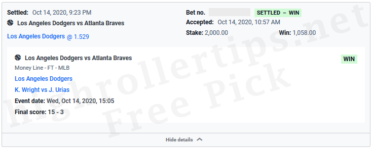 Win,Los Angeles Dodgers,Atlanta Braves,free sports betting tip,free sports betting pick,blowoutwinner,easymoney,clean sweep. Win $1,058 🚀 (+1.1 Unit) 🚀 - Los Angeles Dodgers v Atlanta Braves - FREE SPORTS BETTING TIP, FREE SPORTS BETTING PICK