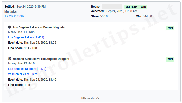 Win,Los Angeles Lakers,Denver Nuggets,Oakland Athletics,Los Angeles Dodgers,sports betting tip,sports betting pick,handicapper,blowoutwinner. Win $544.5 🚀 (+0.5445 Unit) 🚀 - Los Angeles Lakers v Denver Nuggets and Oakland Athletics vs Los Angeles Dodgers - SPORTS BETTING TIP, SPORTS BETTING PICK