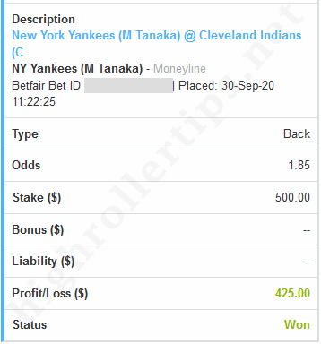 Win,New York Yankees,Cleveland Indians,sports betting tip,sports betting pick. Win $425 🚀 (+0.425 Unit) 🚀 - New York Yankees v Cleveland Indians - SPORTS BETTING TIP, SPORTS BETTING PICK